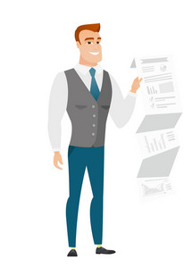 Smiling caucasian businessman showing document with business presentation. Full length of young businessman giving business presentation. Vector flat design illustration isolated on white background.