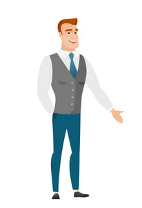 Smiling caucasian businessman with his hand in his pocket. Full length of young happy businessman holding his hand in the pocket of pants. Vector flat design illustration isolated on white background.