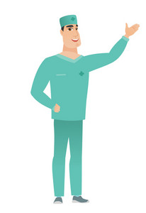 Smiling caucasian doctor in uniform showing a direction. Full length of doctor pointing at something and showing a direction by his hand. Vector flat design illustration isolated on white background.