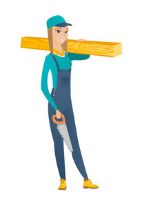 Smiling caucasian female carpenter holding saw and wooden board. Full length of young cheerful carpenter with hand saw and wooden board. Vector flat design illustration isolated on white background.