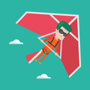 Smiling caucasian man flying on hang-glider. Sportsman taking part in hang gliding competitions. Man having fun while gliding on delta-plane in the sky. Vector flat design illustration. Square layout.
