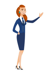 Smiling caucasian stewardess showing a direction. Full length of stewardess pointing at something and showing a direction by her hand. Vector flat design illustration isolated on white background.
