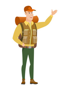 Smiling caucasian traveler showing a direction. Full length of traveler pointing at something and showing a direction by his hand. Vector flat design illustration isolated on white background.