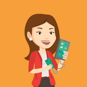 Smiling caucasian woman recharging her smartphone with mobile phone portable battery. Young woman holding a mobile phone and battery power bank. Vector flat design illustration. Square layout.