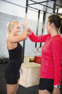 Smiling Female Athletes Giving High Five In Health Club