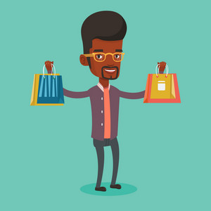 Smiling man holding shopping bags. African-american man carrying shopping bags. Man standing with a lot of shopping bags. Guy showing his purchases. Vector flat design illustration. Square layout.