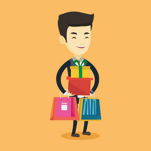 Smiling man holding shopping bags and gift boxes. Happy asian man carrying shopping bags and gift boxes. Man standing with a lot of shopping bags. Vector flat design illustration. Square layout.