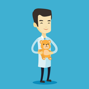 Smiling pediatrician doctor holding a teddy bear. Cheerful pediatrician doctor standing with a teddy bear. Young asian pediatrician in medical gown. Vector flat design illustration. Square layout.