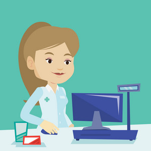 Smiling pharmacist in medical gown standing at the pharmacy counter. Female pharmacist in the drugstore. Young female pharmacist working on a computer. Vector flat design illustration. Square layout.