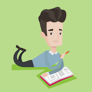 Smiling student laying on the floor and reading a book. Student laying with a notebook. Student writing while laying on the floor. Concept of education. Vector flat design illustration. Square layout.