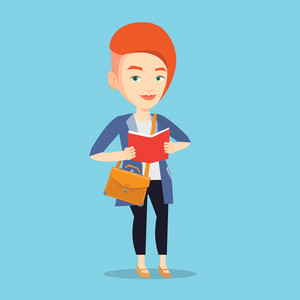 Smiling student reading a book. Cheerful female student reading a book and preparing for exam. Student standing with book in hands. Concept of education. Vector flat design illustration. Square layout