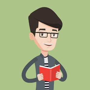 Smiling student reading a book. Cheerful male student reading a book and preparing for exam. Student holding a book in hands. Concept of education. Vector flat design illustration. Square layout.