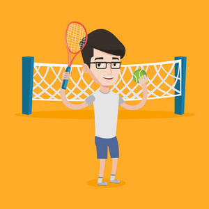 Smiling tennis player standing on the tennis court. Male tennis player holding a tennis racket and a ball. Caucasian cheerful man playing tennis. Vector flat design illustration. Square layout.