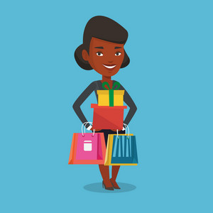 Smiling woman holding shopping bags and gift boxes. African-american woman carrying shopping bags and boxes. Girl standing with a lot of shopping bags. Vector flat design illustration. Square layout
