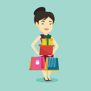 Smiling woman holding shopping bags and gift boxes. Happy asian woman carrying shopping bags and boxes. Girl standing with a lot of shopping bags. Vector flat design illustration. Square layout