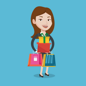 Smiling woman holding shopping bags and gift boxes. Happy caucasian woman carrying shopping bags and boxes. Girl standing with a lot of shopping bags. Vector flat design illustration. Square layout