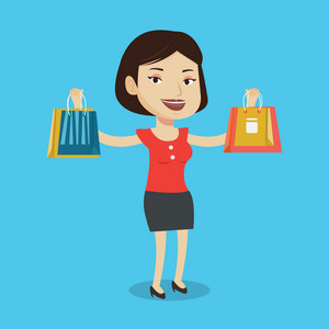 Smiling woman holding shopping bags. Happy caucasian woman carrying shopping bags. Girl standing with a lot of shopping bags. Girl showing her purchases. Vector flat design illustration. Square layout