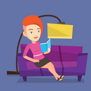 Smiling woman reading a book on a sofa. Caucasian woman relaxing with a book on the couch at home. Young woman sitting on a sofa and reading a book. Vector flat design illustration. Square layout.