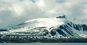 Snowy mountain landscape in cold arctic environment