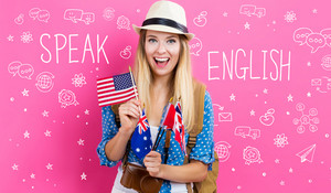 Speak English text with young woman with flags of English speaking countries