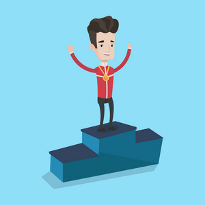 Sportsman celebrating on the winners podium. Young caucasian man with gold medal and hands raised standing on the winners podium. Winner concept. Vector flat design illustration. Square layout.