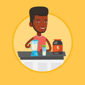 Sportsman making protein shake. Man preparing protein cocktail of bodybuilding food supplements. Man cooking protein cocktail. Vector flat design illustration in the circle isolated on background.