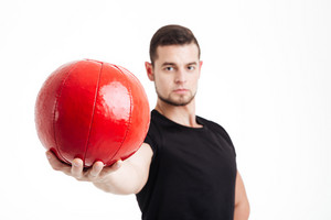 Sportsman with ball. close up portrait. isolated white background