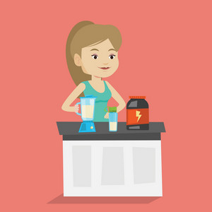 Sportswoman making protein shake using blender. Young woman preparing protein cocktail of bodybuilding food supplements. Woman cooking protein cocktail. Vector flat design illustration. Square layout.
