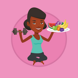 Sportswoman with fruits and dumbbell. Woman holding fruits and dumbbell. Woman choosing healthy lifestyle. Healthy lifestyle concept. Vector flat design illustration in circle isolated on background.