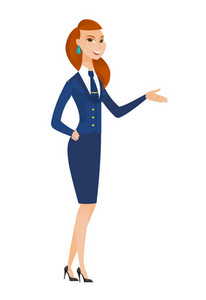 Stewardess with arm out in a welcoming gesture. Full length of welcoming young caucasian stewardess. Stewardess doing a welcome gesture. Vector flat design illustration isolated on white background.