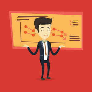 Stressed asian bankrupt standing on the background of decreasing chart. Young bankrupt business man with spread arms. Business bankruptcy concept. Vector flat design illustration. Square layout.