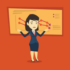Stressed asian bankrupt standing on the background of decreasing chart. Young bankrupt business woman with spread arms. Business bankruptcy concept. Vector flat design illustration. Square layout.