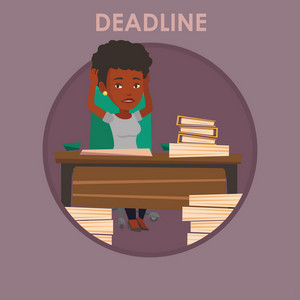 Stressed business woman sitting at workplace and clutching head because of missed deadline. Woman having problem with deadline. Vector flat design illustration in the circle isolated on background.