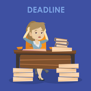 Stressed business woman sitting at workplace and clutching her head because of missed deadline. Caucasian business woman having problem with deadline. Vector flat design illustration. Square layout.