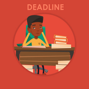 Stressed businessman sitting at the table with papers. Overworked businessman having problem with deadline. Deadline concept. Vector flat design illustration in the circle isolated on background.