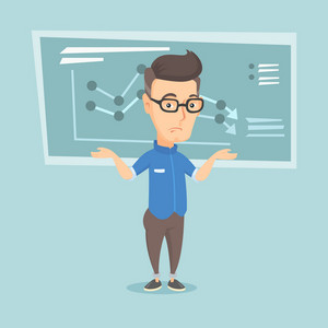 Stressed caucasian bankrupt standing on the background of decreasing chart. Young bankrupt business man with spread arms. Business bankruptcy concept. Vector flat design illustration. Square layout.