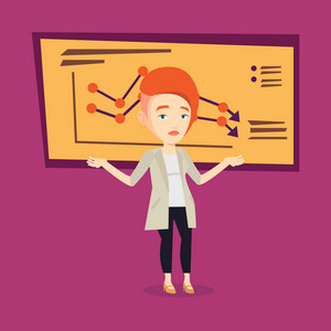 Stressed caucasian bankrupt standing on the background of decreasing chart. Young bankrupt business woman with spread arms. Business bankruptcy concept. Vector flat design illustration. Square layout.