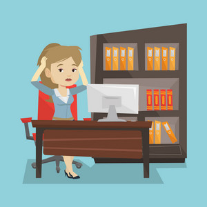 Stressed female office worker. Overworked business woman feeling stress from work. Stressful employee sitting at workplace. Stress at work concept. Vector flat design illustration. Square layout.