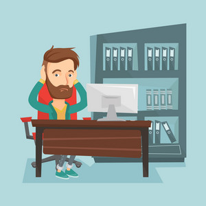 Stressed young hipster office worker. Overworked business man feeling stress from work. Stressed employee sitting at workplace. Stress at work concept. Vector flat design illustration. Square layout.