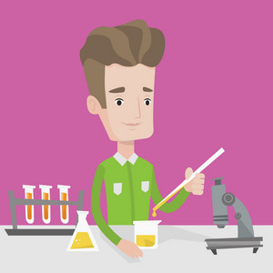 Student carrying out experiment. Student working with microscope, test tubes and flask at laboratory class. Student experimenting in chemistry class. Vector flat design illustration. Square layout.