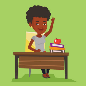 Student raising hand in the classroom for an answer. An african-american student sitting at the desk with raised hand. Girl raising her hand at lesson. Vector flat design illustration. Square layout.