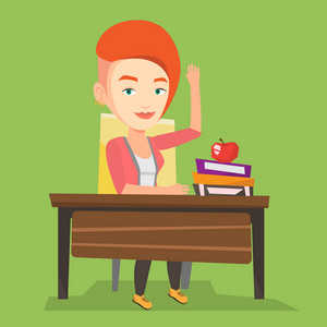 Student raising hand in the classroom for an answer. Caucasian student sitting at the desk with raised hand. Clever pupil raising her hand at lesson. Vector flat design illustration. Square layout.