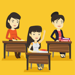 Student raising hand in the classroom for an answer. Happy student sitting at the desk with raised hand. Clever student raising her hand at lesson. Vector flat design illustration. Square layout.