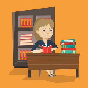 Student sitting at the table and holding a book in hands. Smiling student reading a book. Cheerful female student reading a book and preparing for exam. Vector flat design illustration. Square layout.