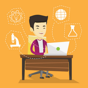 Student sitting at the table and working on laptop. Student working on laptop connected with icons of school sciences. Concept of educational technology. Vector flat design illustration. Square layout