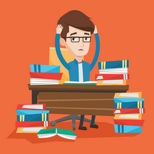 Student sitting at the table with huge piles of books and clutching his head. Stressed student reading books. Depressed student having a lot to do. Vector flat design illustration. Square layout.