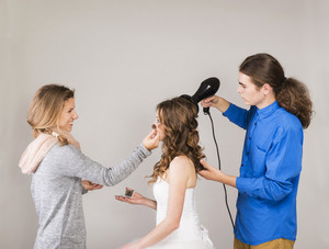 Studio portraits with beautiful bride makeup artist and hairdresser