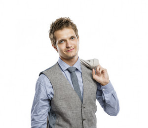 Studio shot of young modern businessman, isolated on white background