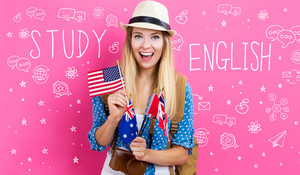 Study English text with young woman with flags of English speaking countries