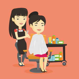 Stylish asian hairdresser cutting hair of young woman in beauty salon. Professional hairdresser making haircut to a client with scissors in beauty salon. Vector flat design illustration. Square layout